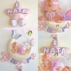 Felt Wreath, Name Banners, Birth, Diy And Crafts, Christmas Ornaments, Holiday Decor, Children, Hangers, Mobiles