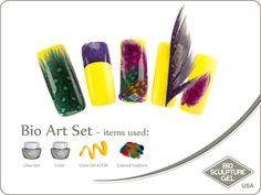 Feathers art set Bio Sculpture Nails, Sculpture Art, Bio Art, Coloured Feathers, Feather Art, Gel Color, Nail Art Galleries, Potato Chips, Image