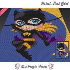 Mini Bat Girl inspired graph crochet pattern by TwoMagicPixels Graph Crochet, Pixel Crochet, C2c Crochet, Manta Crochet, Crochet Blanket Patterns, Crochet Baby, Cross Stitch Patterns, Block Patterns, Crochet Afghans