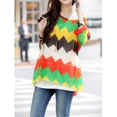 Casual Scoop Neck Batwing Sleeve Color Block Chiffon Blouse For WomenBlouses | RoseGal.com