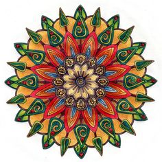 Flowers and Trees Mandala by Artwyrd on DeviantArt - Pen and coloured pencils.