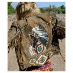Double D Ranch Chief Eagle Head Jacket - biker, leather, western, indian, chief, distressed