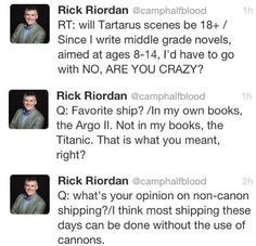 Way to deliberately avoid the real question. We all knows that Rick Riordan know what they are asking Percy Jackson Memes, Percy Jackson Books, Percy Jackson Fandom, Magnus Chase, Solangelo, Percabeth, Rick Y, Trials Of Apollo, Rick Riordan Books
