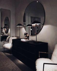 Wohnung Einrichten ideen - Don't like how dark it is, but love the whole minimal dresser set up - mirro. Dark Living Rooms, Home And Living, Living Room Decor, Bedroom Decor, Bedroom Furniture, Dark Furniture, Modern Living, Dresser Sets, Dresser Mirror