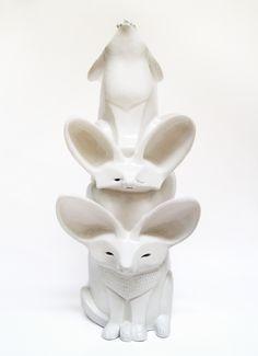 Totem, Fennec fox, desert animals, sculpture, art, ceramics, unique, hand built, symbols. By Aura Kajas, 2013