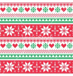 Nordic seamless knitted christmas red and green vector