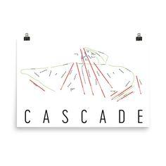 Cascade Mountain Ski Map Art, Cascade Mountain WI, Cascade Trail Map, Cascade Resort Print, Cascade Poster, Cascade Mountain, Art, Gift