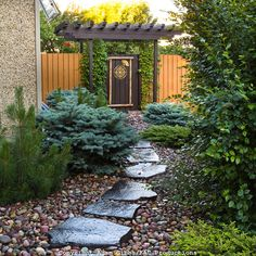 slate path leading to garden gate
