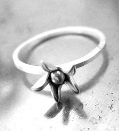 Star Blum sterling silver flower stacking Ring  Bridal by kalicat, $72.50