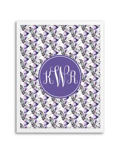 Watercolor Floral Monogram (Purple)