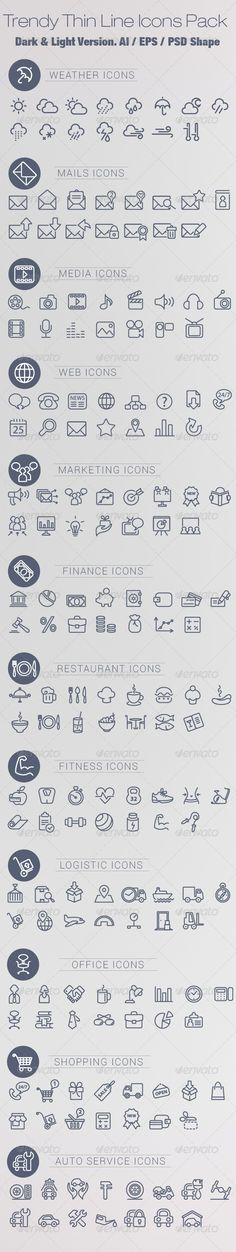 Trendy Thin Line Icons Pack by chennie Web Design, Icon Design, Doodle Icon, Doodles, Bullet Journal, Sketch Notes, Planner, Line Icon, Grafik Design