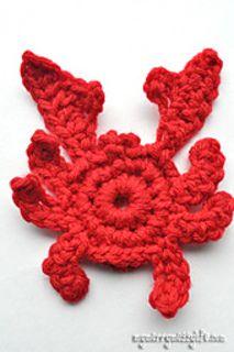 Crochet Crab Applique . ☀CQ #crochet #applique  http://pinterest.com/CoronaQueen/crochet-applique-corona