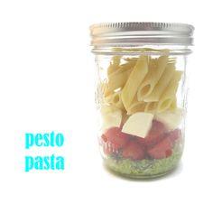 Pesto Pasta: cook/drain pasta. Pesto: blend 2cloves garlic, cup fresh basil, 1/4c walnuts, 1/4olive oil, pasta water. add 1/2c parmesean, salt/pepper to taste. Jar: Pesto, halved cherry tomatoes, cubed mozzarella, pasta. shake before eating