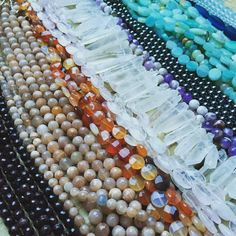 Time to create the next round of hand knotted stone necklaces!  Besides a couple hematite necklaces and some sea glass creations all the other lovelies found their ways to the most wonderful homes!  #garnet #peachmoonstone #carnelian #quartz #quartzpoint #amethyst #hematite #amazonite #seaglass #stonejewelry #seaglassjewelry #crystals #crystaljewelry #stonemedicine #handmade #beads #stonebeads #dearbellagrace #handmade #boho by moontreeapothecaries