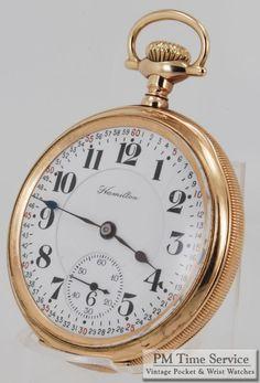 "Hamilton 16S 21J ""grade 992"" vintage pocket watch, in a yellow gold filled hinge-back & bezel engraved case.  On eBay today!"