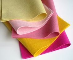 Wool Felt Pink Lemonade Color Story Five Sheets by FeltOnTheFly, $15.00