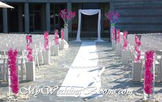 Image detail for -Ceremony site with submerged orchids in glass cylinders Ceremony Site