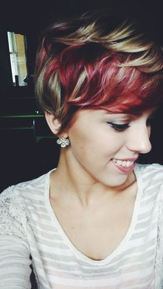 Red heavy peekaboos Color, red, fall, pixie cut, pixie with color, blonde