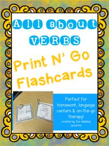 The Dabbling Speechie - All About VERBS-Print N' Go Flashcards. Pinned by SOS Inc. Resources. Follow all our boards at pinterest.com/sostherapy/ for therapy resources.