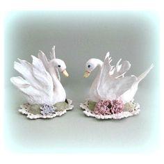 White Swan Figurine Baby Girl Nursery Bird Decor Baby Girl Room Bird... ($18) via Polyvore featuring floral swan, miniature swan and swan figurine