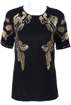 Black Short Sleeve Embroidery Back Buttons T-Shirt - Sheinside.com