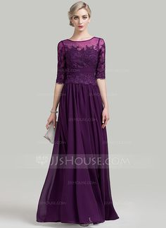[CA$ 252.45] A-Line/Princess Scoop Neck Floor-Length Chiffon Mother of the Bride Dress With Ruffle Beading Sequins
