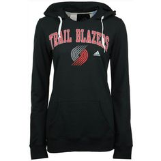 adidas Women's Portland Trail Blazers Mesh Arch Hooded Sweatshirt ($45) ❤ liked on Polyvore featuring black and adidas