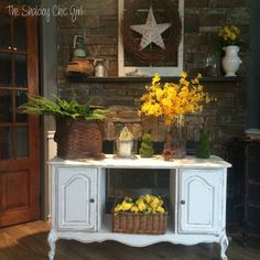 How many times have you passed this same style buffet/TV cabinet by at the thrift store and look at what you can do with it!
