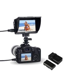 """Amazon.com: VILTROX DC-50 5"""" inch LCD portable Camera Field monitor , TFT HD video monitor with FM50 battery / sunshade cover /hot shoe mount , support peaking  Price:$125.19"""