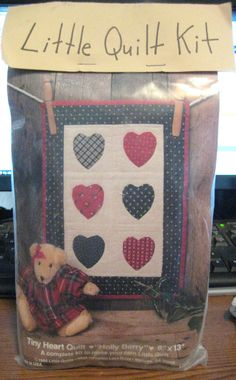 """Tiny Heart Quilt  Holly Berry   Vintage 1986 Little Quilt Kit  9"""" X13""""   New #LittleQuiltsGeorgia"""