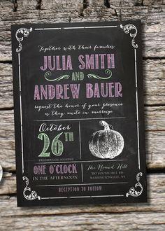 VINTAGE BLACKBOARD PUMPKIN Fall Chalkboard Poster Wedding Invitation/Response Card - 100 Professionally Printed Invitations & Response Cards...