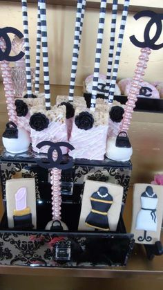 Incredible treats at a Coco Chanel birthday party! See more party planning ideas at CatchMyParty.com!