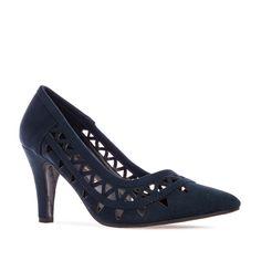 6d4a65aec290e5 Chaussures ajourées en suèdine Bleu Marine. - Femmes, Grandes Pointures,  Femmes, Petites pointures, Femmes, Chaussures à talon ou talon compensé, ...