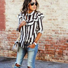 Julie Sariñana wears a striped ruffled shirt, distressed jeans, a Chloé Drew saddle bag, stacked jewelry, and aviator sunglasses Mode Outfits, New Outfits, Spring Outfits, Casual Outfits, Fashion Outfits, Winter Outfits, Fashion Fashion, Latest Fashion, Fashion Trends