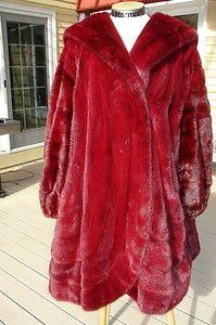 red (Valentino red, natch) mink coat w. hood