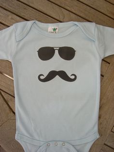 Aviator Glasses and Mustache Onesie or Toddler T-Shirt Hand Screen Print