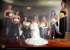 seven degrees wedding black and white bridal party #nozza