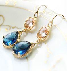 Earrings in Blue, Gold, and Pink