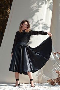 Black silk skirt, Flared skirt, Midi skirt, Circle Skirt Satin skirt High waisted skirt Women skirt