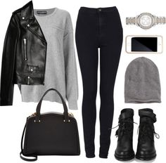Untitled #1178 by beatifuletopshop featuring a leather jacket ❤ liked on Polyvore Dolce Gabbana cashmere sweater / Yves Saint Laurent leather jacket / Topshop high waisted jeans / Heel boots /...