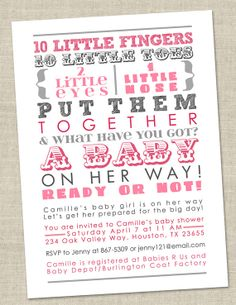 Baby Girl Shower Invitation! Cute saying, but in lilac, gray, and tiffany blue to match the nursery ;o)