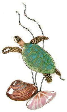 Coastal Wall Art Sea Turtle With Seashells Metal Sculpture