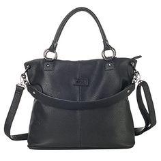 Lacle LA-053 Women Top-handle Grainy Shoulder Handbag Crossbody Purse Satchel(Grainy Black) ** Review more details @