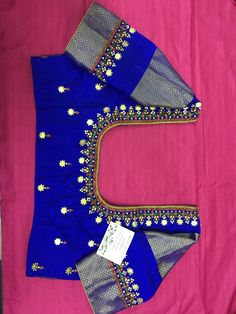 Discover thousands of images about Sudhasri hemaswardrobe Hand Work Blouse Design, Simple Blouse Designs, Stylish Blouse Design, Saree Blouse Neck Designs, Bridal Blouse Designs, Maggam Work Designs, Blue Blouse, Mirror Work, Embroidery Works