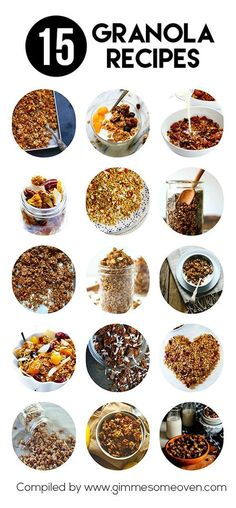 15 Granola Recipes -- a delicious collection of easy homemade granola recipes from food bloggers #granola #recipes