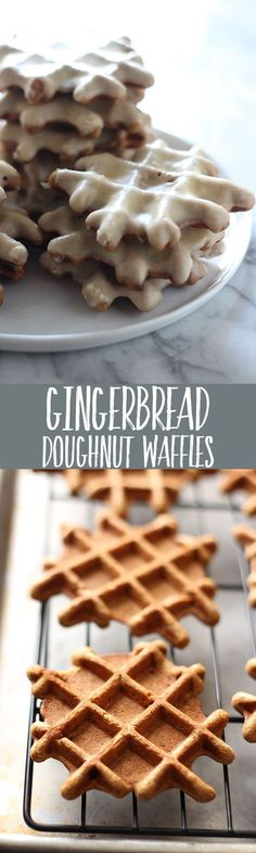 Gingerbread Doughnut Waffles with Maple Glaze are the yummy love child between aromatic gingerbread, sweet doughnuts, and waffles. Breakfast perfection! Christmas Desserts, Christmas Baking, Christmas Ideas, Just Desserts, Dessert Recipes, Waffle Iron Recipes, Brownies, Tasty, Yummy Food
