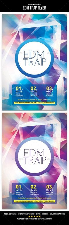Buy EDM Trap Flyer by SetsunaSensei on GraphicRiver. EDM Trap Flyer This flyer's is perfect for promoting your next techno/electro/dubsteb musical night party. Print Design, Graphic Design, Event Flyer Templates, Event Flyers, Print Templates, Flyer Design, Edm, Techno, Thankful