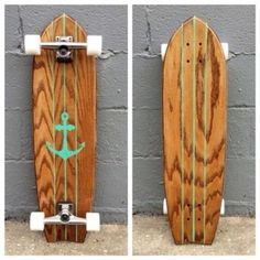 THIS BOARD! Honey Wood with Sea Foam Paint and Glow In The Dark WheelsBoard Measurements = is a one-of-a-kind, handmade, solid oak longboard. This board is designed for daily cruising and commuting. Longboard Design, Skateboard Design, Penny Skateboard, Skateboard Pictures, Skates, Girls Skate, Vans Girls, Snowboard, Long Skate
