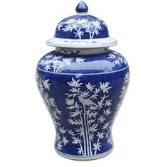 New Arrival From Jingdezhen China: Chinese Blue & White Porcelain Bamboo Garden Temple Jar * Free Hand Painted, Glazed Finish * 18 x 10 x 10 inches
