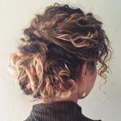 Messy Updo For Curly Hair hair ombre 60 Styles and Cuts for Naturally Curly Hair Curly Hair Styles, Short Hair Updo, Curly Hair Cuts, Long Curly Hair, Wavy Hair, Short Hair Cuts, Natural Hair Styles, Messy Updo, Curly Girl